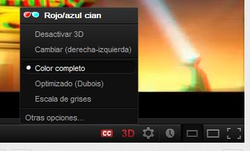 Imagen configuración videos 3d en youtube