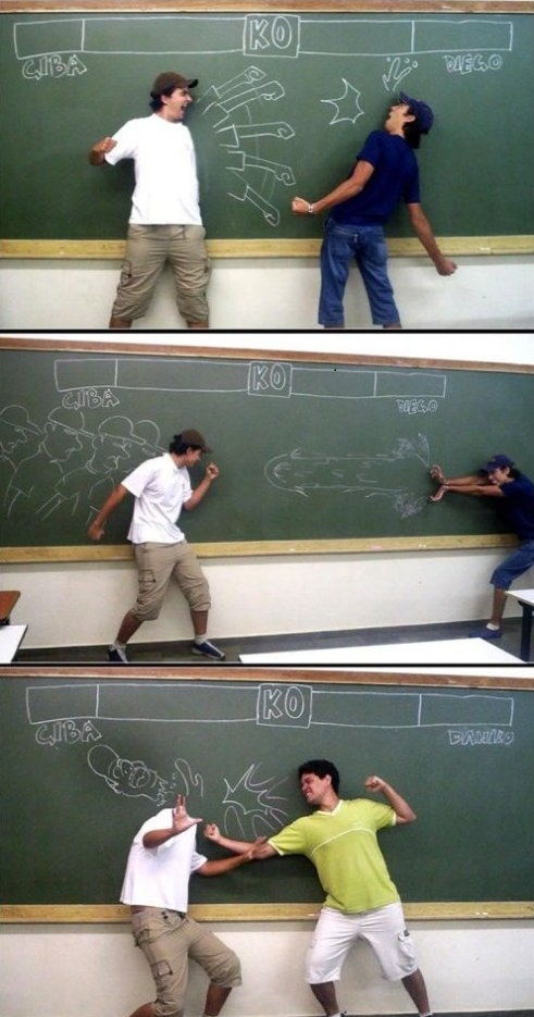 Foto aburrimiento en clase dibujo en pizarra
