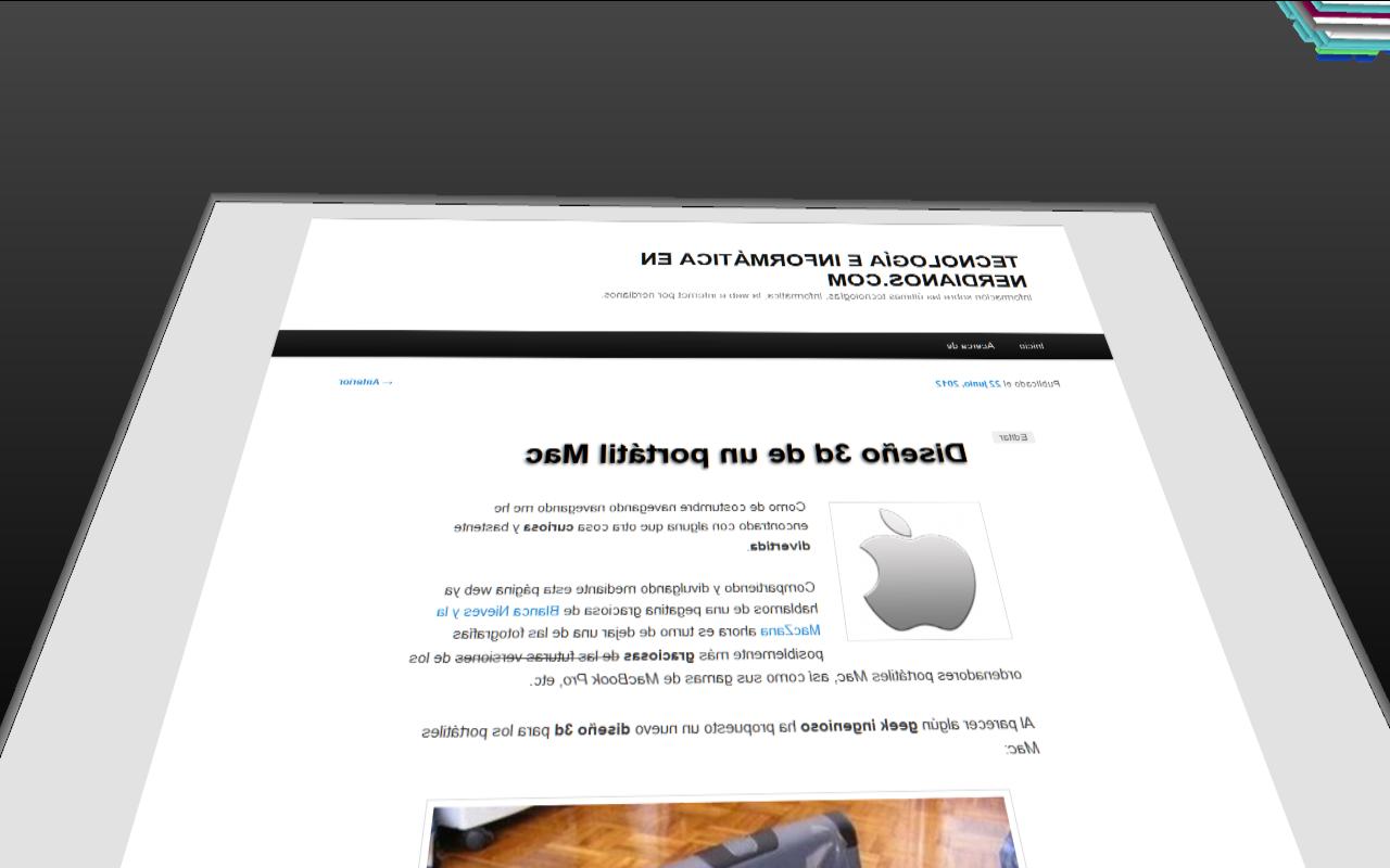 Captura voltear una entrada en wordpres - vista en 3d