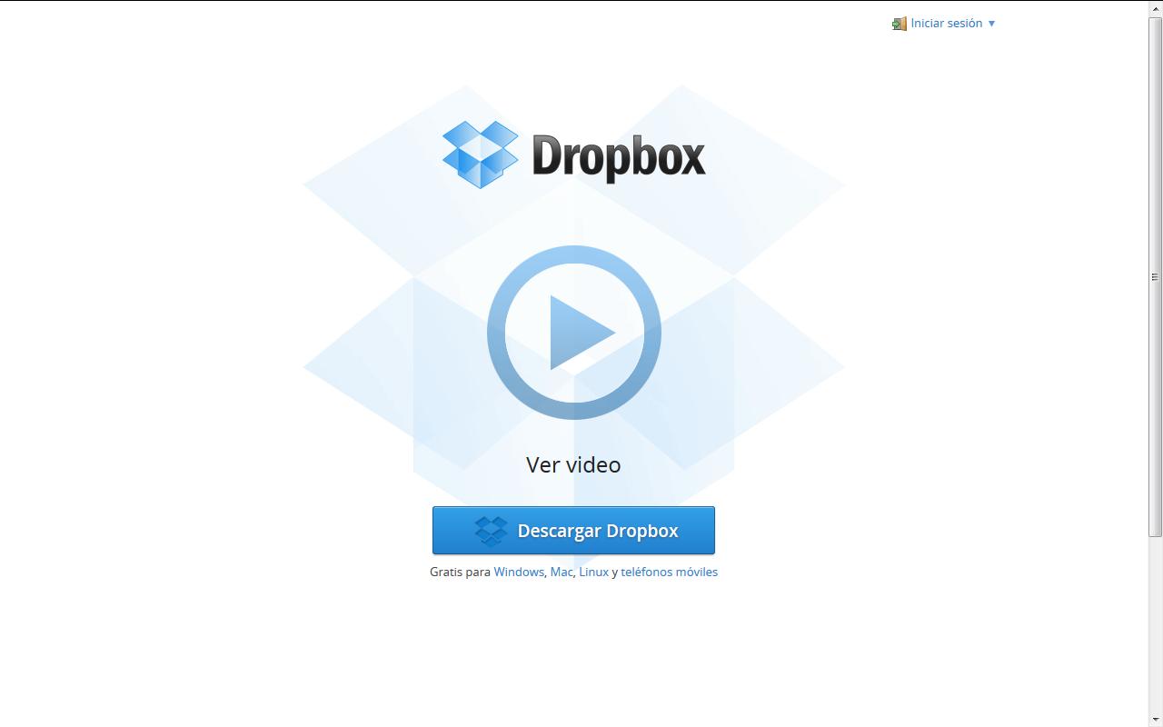 Imagen pagina principal de dropbox.com web para almacenamiento de ficheros