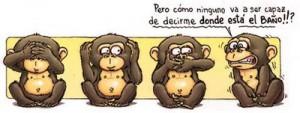 Humor gráfico sobre los tres monos sabios