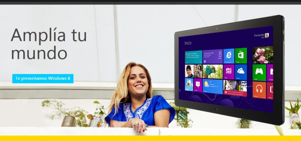 Anuncio en la portada de nuevo windows 8 2012