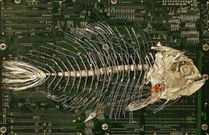 Escultura en circuito de un pez