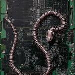 Escultura en circuito de una serpiente
