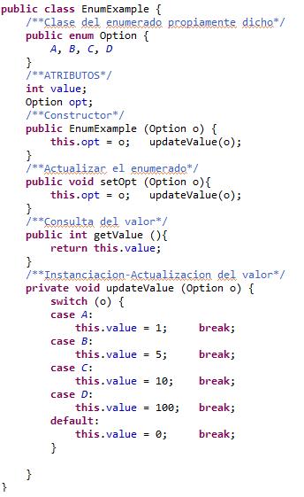 Codigo de ejemplo para utilizar un enumerdo a modo de registro con acceso por valor indice