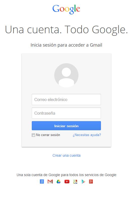Captura del nuevo sistema de login google